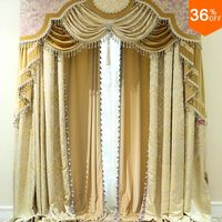 Nice Golden shutters with valance beads the classical curtains for windows extreme luxury drapes finish curtains for the bedroom