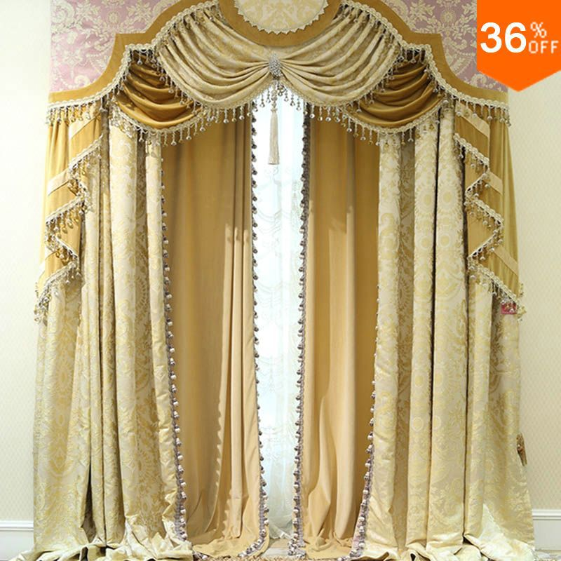 Buy nice golden shutters with valance for Where to buy drapes