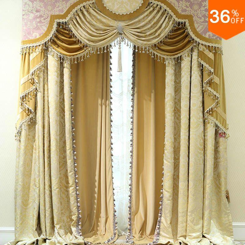 US $247.94 10% di SCONTO|Nizza Dorato persiane con volant perline tende per  le finestre di lusso estremo classica finitura tende tende per la camera ...