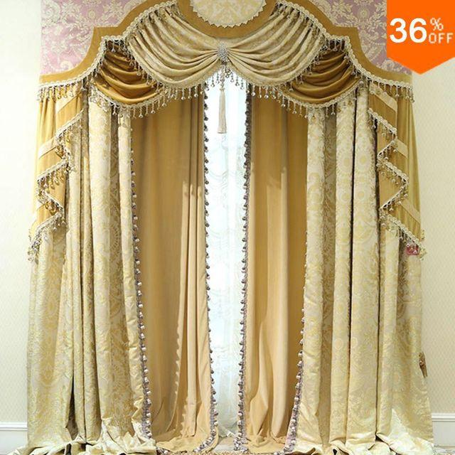 Nizza dorato persiane con volant perline tende per finestre tende ...