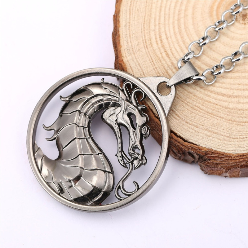 Mortal Kombat Dragon Symbol Keychain Necklace Pame Periphery Jane Empire Fighting Game Logo Necklace Film Animation Around J R in Action Toy Figures from Toys Hobbies