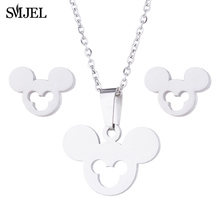 SMJEL Small Mickey Earrings for Women Cartoon Animal Mouse Stud Earrings Piercing Stainless Steel Jewelry Kids Gift Brincos