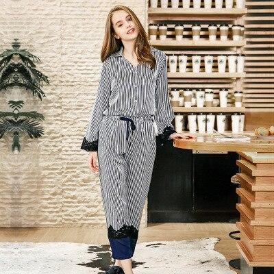 Women Navy Luxury Sleeping Wear Autumn Sexy   Pajama     Sets   Lace Trim Satin Striped Long-Sleeve Top & Trousers   Pajama     Set   Sleepwear