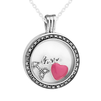 CKK Necklace 925 Sterling Silver Jewelry Medium Floating Locket Pendant and Necklace with inner Love Feelings Parts