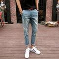 Estilo Coreano de moda Slim Fit Mens Ripped Jeans Pantalones de la Longitud Del Tobillo Hombre Algodón Skinny Jeans Casuales