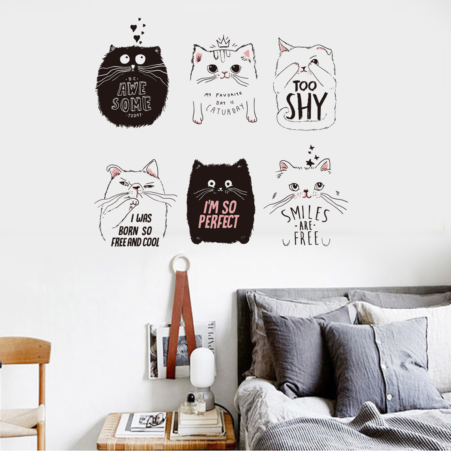 Newest Cute Cat Wall Stickers Fashion Home Decor 6 Pcs Cats Black White Cats Wallpapers DIY Kids Room Decoration