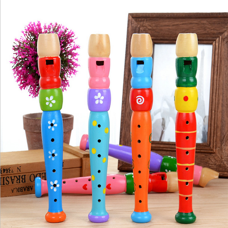 Kids Toy For Children Baby Boys Girls 2018 Colorful Wooden Trumpet Buglet Hooter Bugle Educational Toy Gift For Kids Cherryb