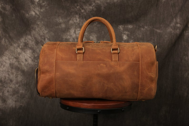 Sac de voyage en cuir vieilli pleine fleur artisanal avec compartiment à chaussures sac de week-end en cuir sac polochon en cuir