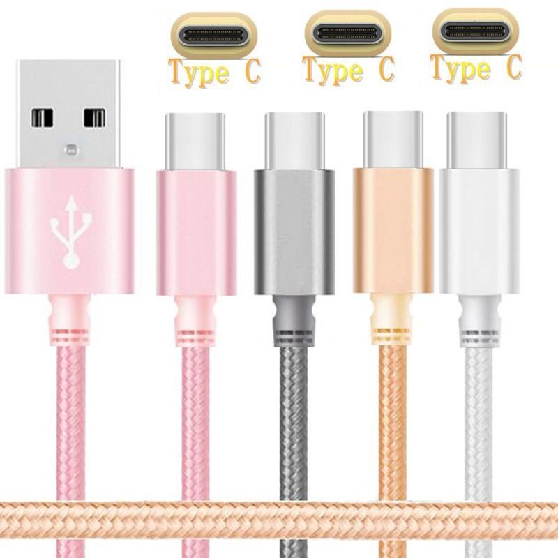 imágenes para Envío 100 unids 1 m LOS 3FT Tipo C Tela de nylon Trenzado usb cargador de los datos paquetes de Accesorios de Cable para samsung nota 7 Lg htc Nokia N1 G5
