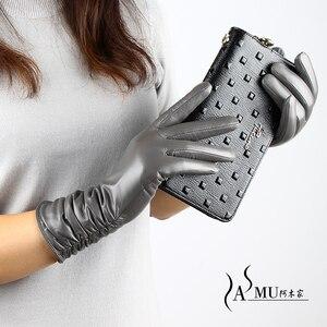 Image 4 - Fashion Women Gloves Female Long Leather Gloves Autumn Plus Velvet Warm Gloves Sheepskin Gloves NEW High Quality Free shipping