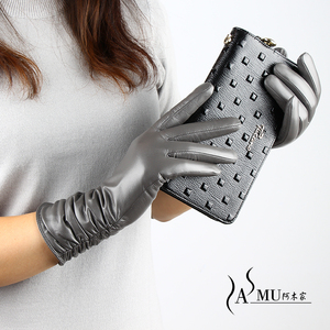 Image 4 - Guantes largos de piel para mujer a la moda, guantes cálidos de terciopelo para otoño, guantes de piel de oveja, nuevos guantes de alta calidad, Envío Gratis