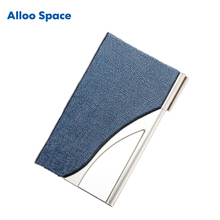 Alloo Space Unisex Semi-curved Metallic + Pu Case for Cards Credits Porte Carte Bancaire Business Card Holder Case Can Add Logo