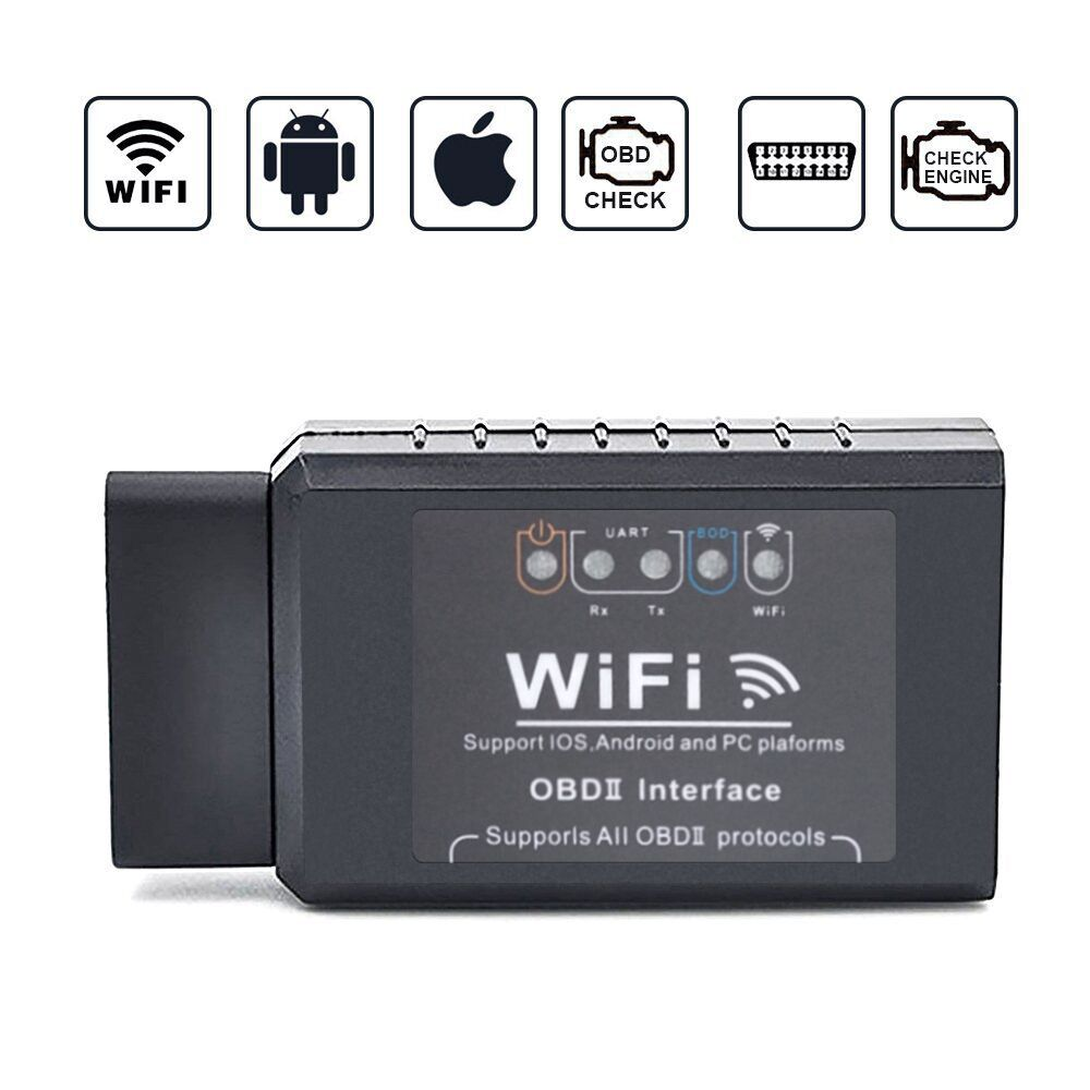 V1.5 ELM327 Car WIFI OBD 2 OBD2 OBDII Scan Tool Foseal Scanner Adapter Check Engine Light Diagnostic Tool for iOS & Android