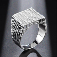 2019 YKNRBPH Men's S925 Sterling Silver Ring Male Fashion Personality Simulation Diamond Rings Silver Jewelry
