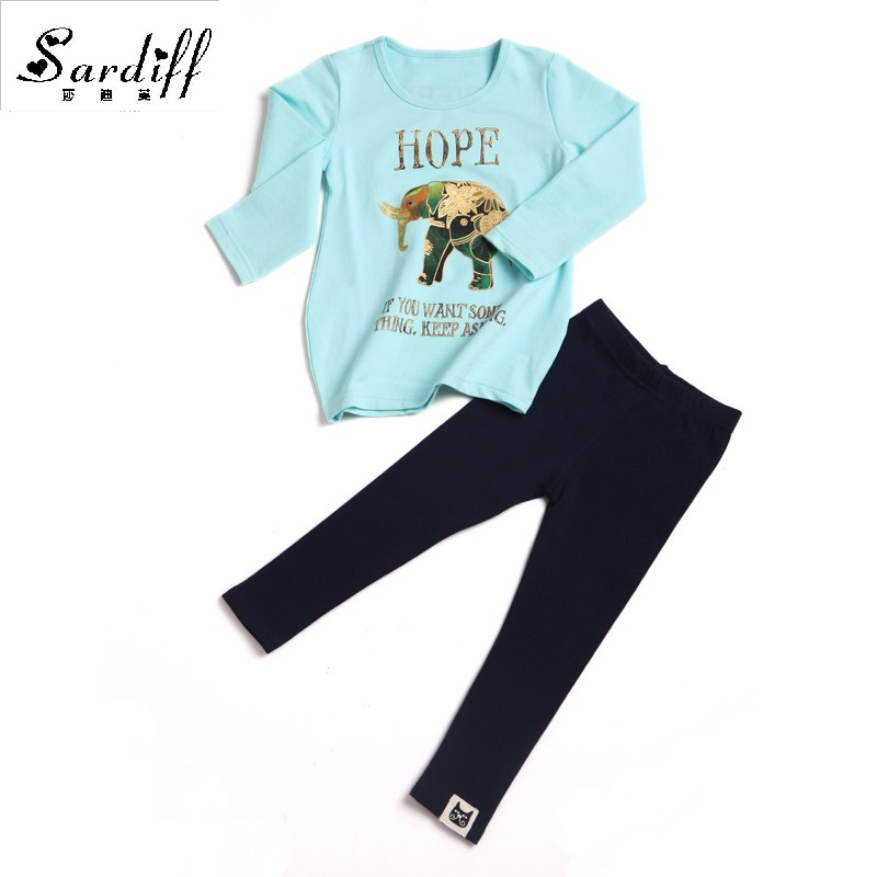2017 Toddler Girl Clothes Sport Suit for Kids Children's Spring Costumes Clothing Blue T-Shirt+Pant Cotton Tracksuit for Girls