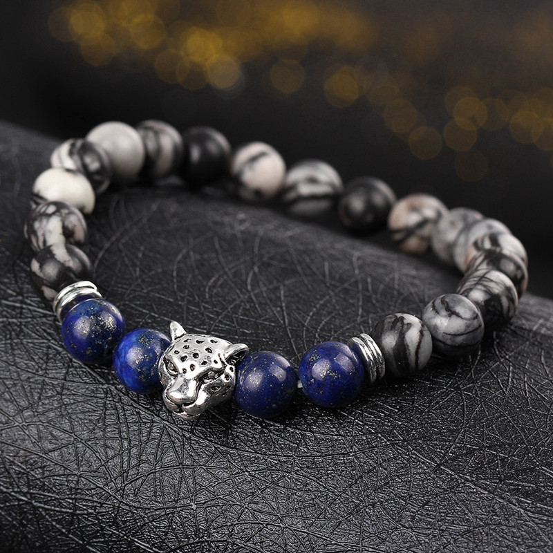 DUOVEI Weathering Stone Leopard Head Beaded Bracelet For Men New Fashion Natural Stone Tiger Eye Onyx Lava Beads Bracelets 3