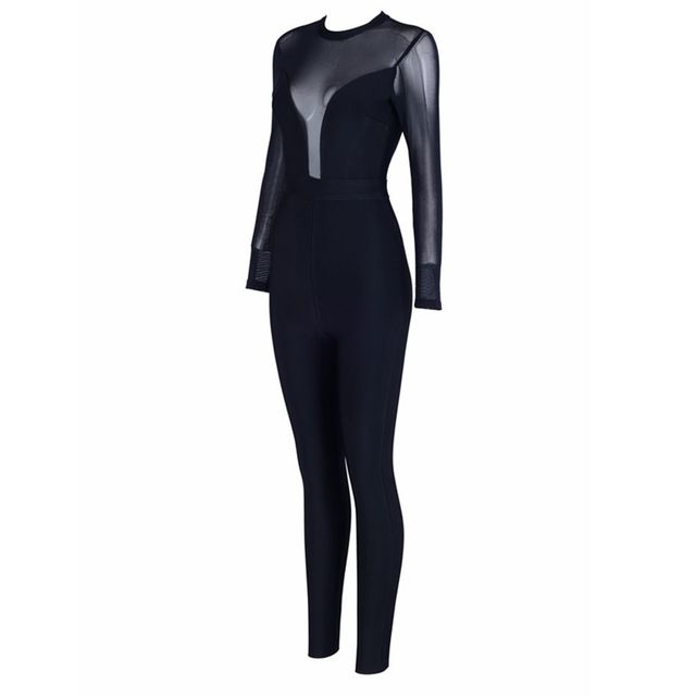 Celebrity Party Bandage Jumpsuit Women Black Long Sleeve O-Neck Mesh Sexy Night Out Bodycon Bodysuit 4