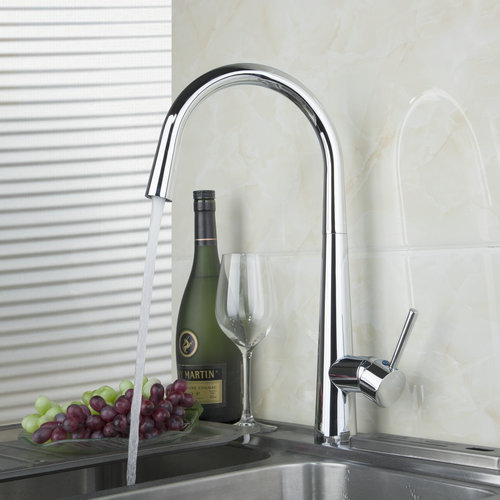 360 Swivel Chrome Finish Kitchen Faucet Single Handle Deck Mount 92351 1 Single Hole Faucets Mixers