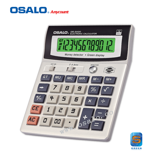ФОТО OS-2000 Green Light Display Monry Director Calculator AA battery Office Supplies Electronic Desktop 12 Digits Calculator Gifts