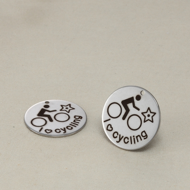 5pcslot 316l Stainless Steel Charms I Love Cycling Round Charms