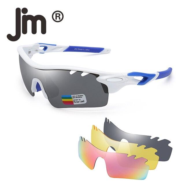 6c60bda62145 JM Polarized Sports Sunglasses for Men Women UV400 Protection Biking  Running Fishing Glasses 3 Interchangeable Lenses
