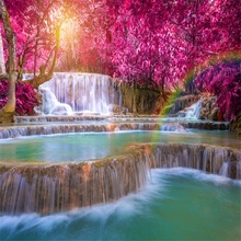 Laeacco 天然滝林木リゾート風光明媚な写真撮影の背景カスタマイズされた写真の背景の写真