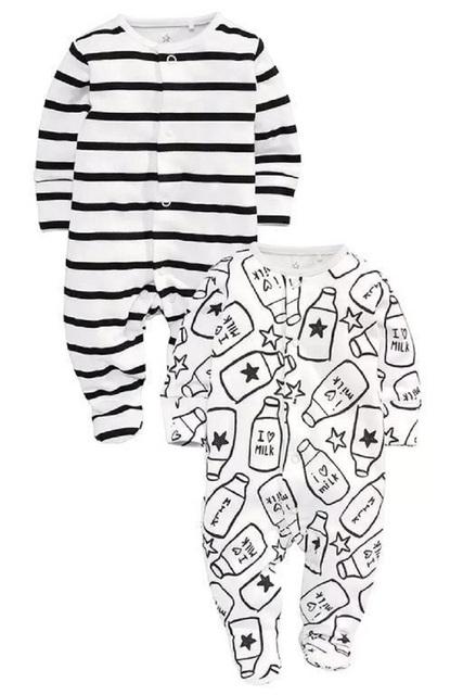 O envio gratuito de Crianças pijama macacão de bebê macacão de bebê recém-nascido roupa interior de algodão de manga longa pijamas das meninas dos meninos outono macacão