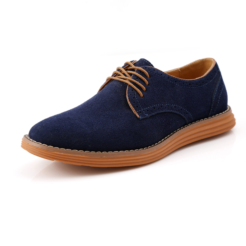 High quality suede big size men's casual shoes fashion lace-up bullock business men shoes brogues top genuine leather oxfords 11 zdrd new fashion genuine leather men business casual shoes british low top lace up suede leather mens shoes brown red men shoes