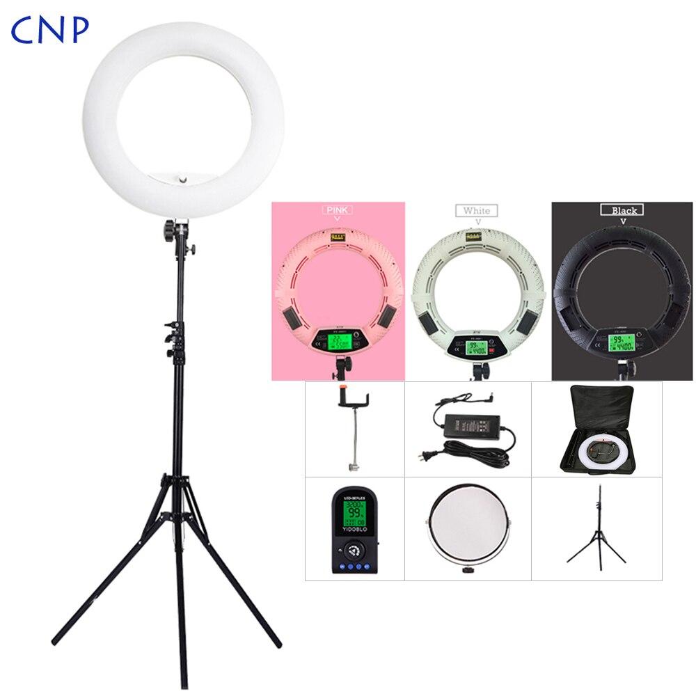 CNP Photo Studio téléphone vidéo 18 pouces Dimmable photographie LED anneau lumière lampe avec miroir trépied support sac de transport pour le maquillage en direct