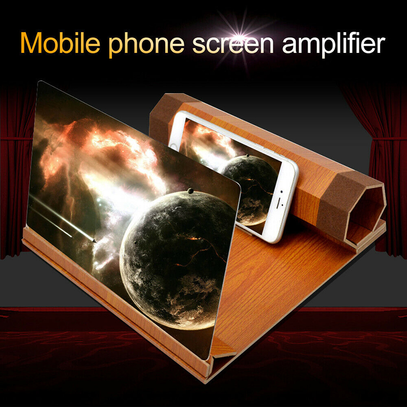 12 Inch Hologram Screen Magnifier 3d Smart Mobile Phone Movies Wood Grain Hd Stereoscopic Smartphone Screens Magnifier Stand Aliexpress
