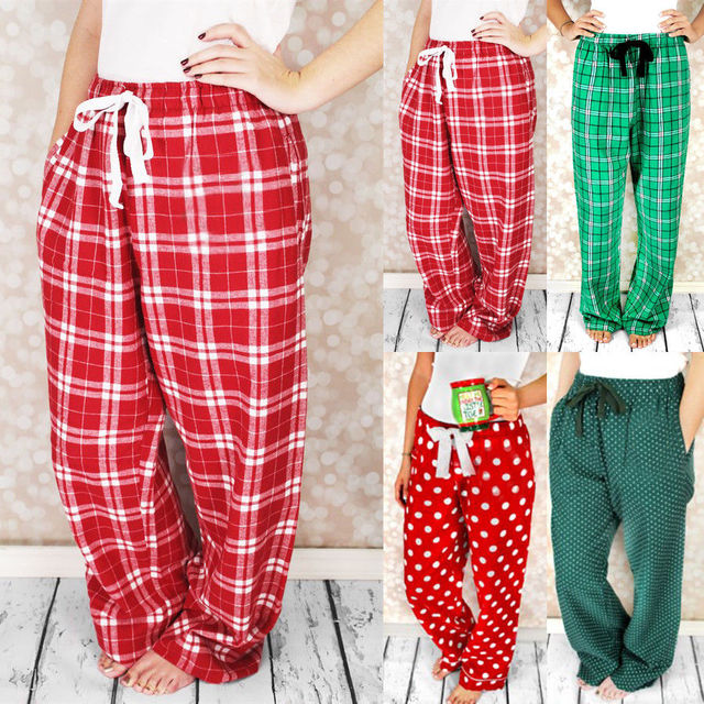 2018 family matching christmas pajamas pants womens sleepwear nightwear checked bottom plaid pants
