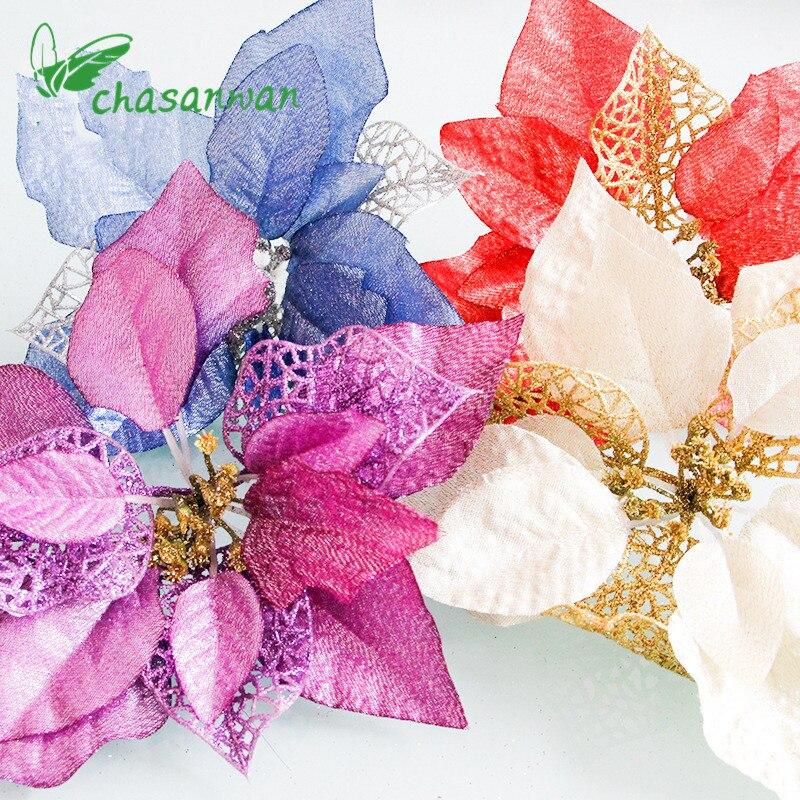 4 st 22cm juldekoration Konstgjord blomma julgran hängande nyår julprydnader för hem julklapp, Q