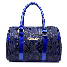 Brands High Quality Serpentine Pattern PU Leather Women Tote+Shoulder/Messenger+Clutch Composite Bags 6 Pieces Sets Bolsos Mujer
