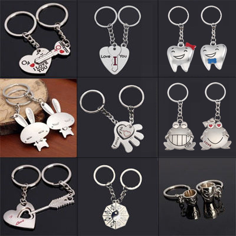 Fashion Peach Heart Couple Stitching Keychain Cute White Rabbit Frog Heart Pendant Pendant Key Chain Set Student Gift Jewelry