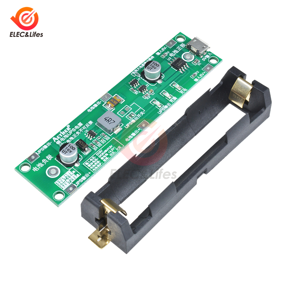 5V 1A Uninterruptible Power Supply Module 18650 Lithium Battery Step Up Board