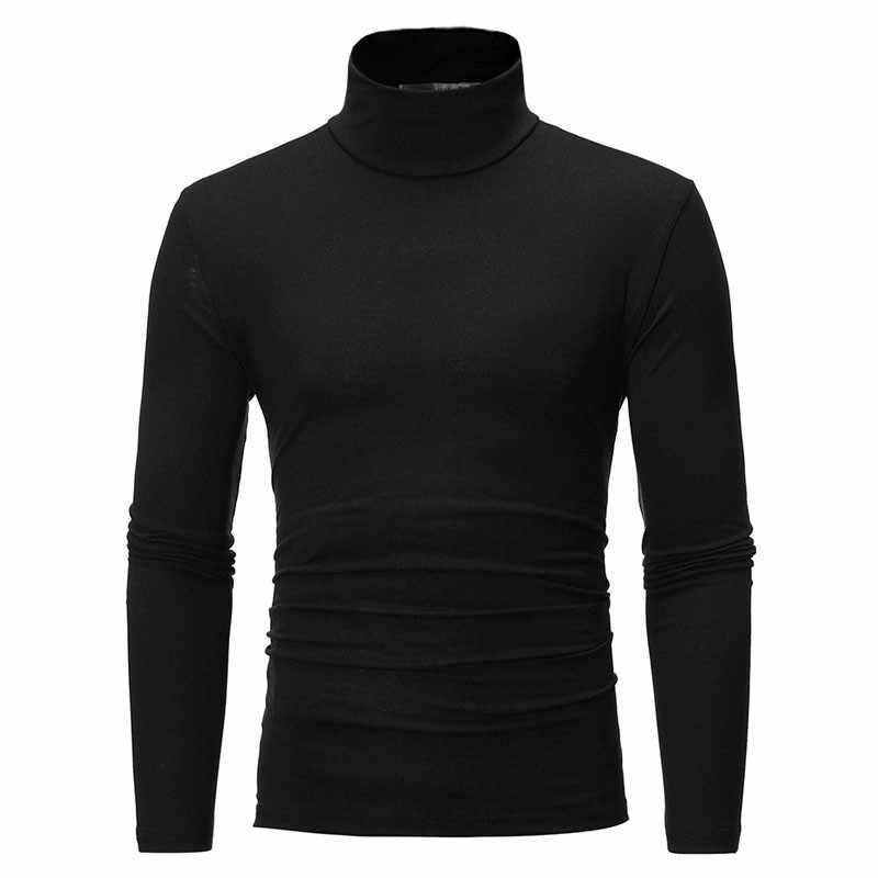 2020新メンズソリッドカラーのタートルネックtシャツ男性スリムフィット長袖tシャツブラックホワイト男性tシャツm-3XLトップス