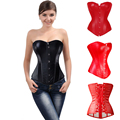 New Waist Trainer Corset Black Red Lace up Back Corset Faux Leather Overbust Zipper Or Buckles Bustier Top Shaper Plus Size