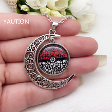 Tibetan Silver Anime Pokemon Pokeball Glass Hollow Moon Shape Pendant Necklace.;
