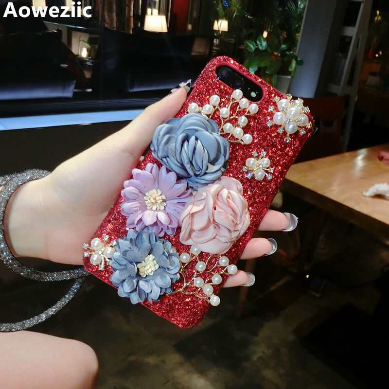 Aoweziic For iPhone7plus mobile phone shell woman 6S glitter Rhinestone 8+ protective sleeve falling x shell lanyard personality