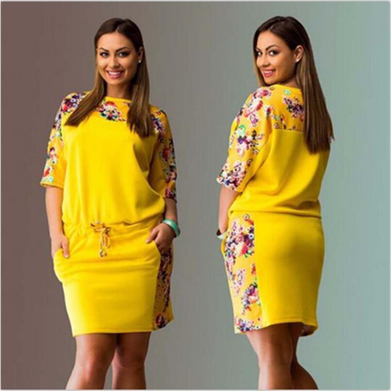 Hot výprodej léto nové kulatý výstřih šaty s půl rukávem digitální tištěné plus velikosti ženy šaty