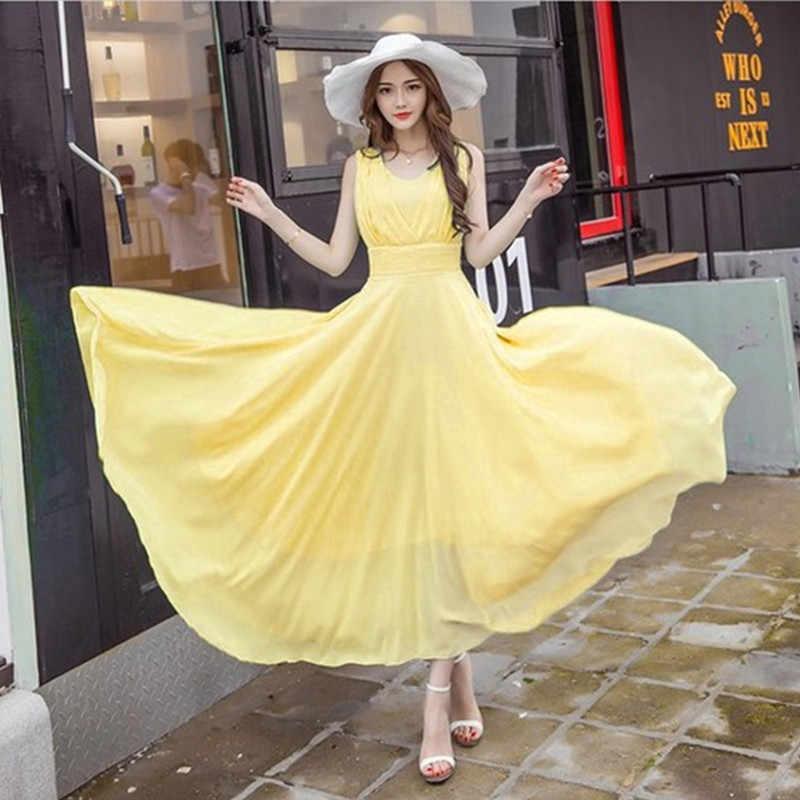 a4b33fb70dd197d Летнее платье макси Женская мода без рукавов Белый Зеленый Желтый Boho  богемное пляжное шифоновое длинное платье