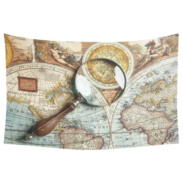Vintage world map home decor wall art magnifying glass and ancient vintage world map home decor wall art magnifying glass and ancient old map tapestry wall gumiabroncs Images