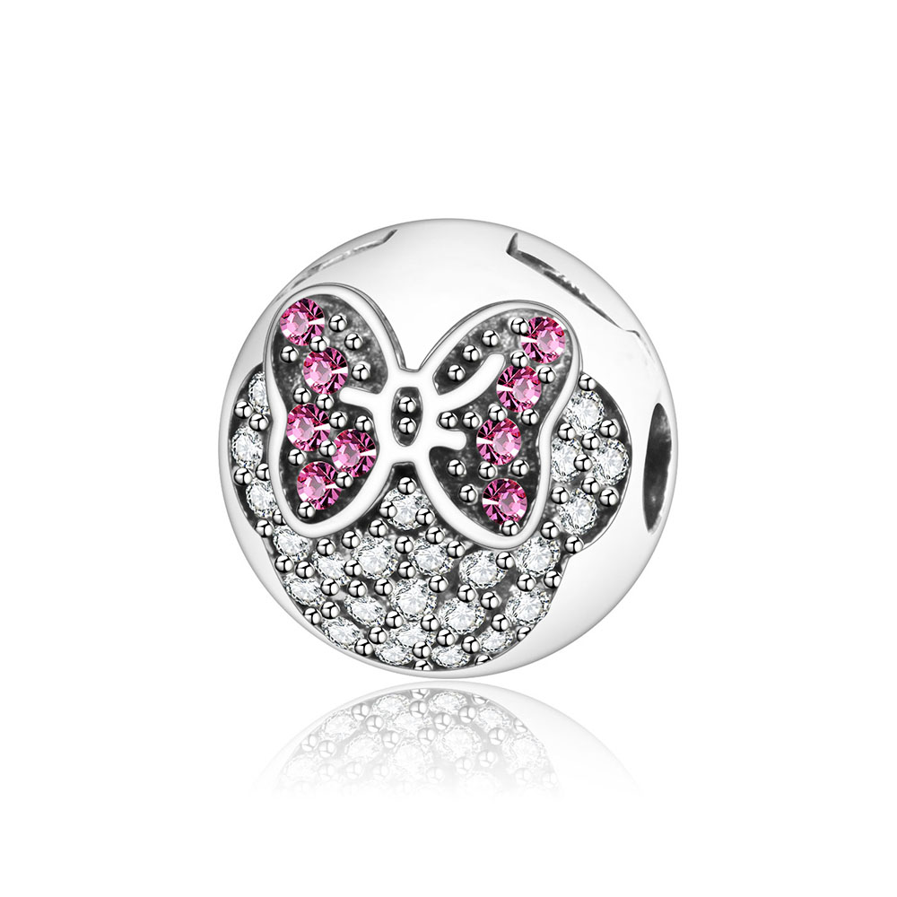New Fashion Original 925 Sterling Silver Charm Minnie Pave Clip Beads Fit Pandora Charm Bracelet Pendant Authentic Women Jewelry
