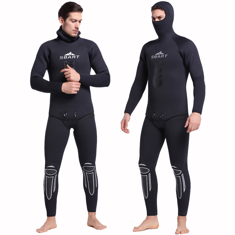 2017 NEW Sbart Winter Thick Warm Men Hooded Neoprene Spearfishing Wetsuit 5mm Two Pieces Diving Suits Surfing Sailing CO sbart upf50 rashguard 2 bodyboard 1006