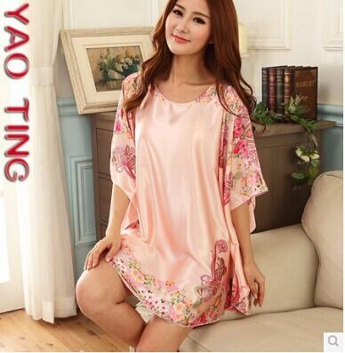 Verão feminino camisa morcego solta de seda camisola grande metros plus size camisola de seda sleepwear