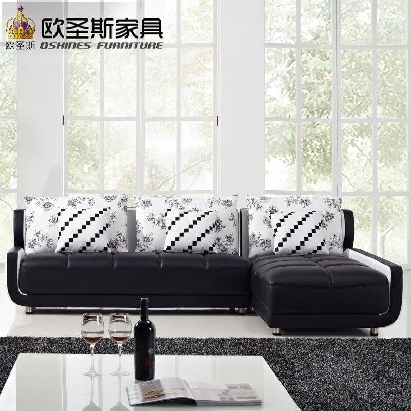 Style français nouveau canapé Design noir et blanc petite taille L en forme de Mini maison Types de salon chinois en cuir canapé ensembles K001