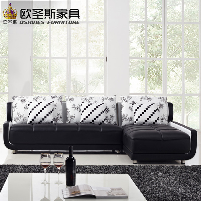 French Style New Sofa Design Black And White Small Size L Shaped