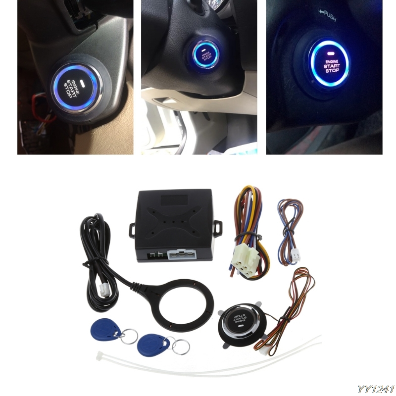 2018 High Quality car accessories Car Engine Push Start Button RFID Lock Keyless Entry Start Stop Ignition Starter Car Styling easyguard pke car alarm system remote engine start stop shock sensor push button start stop window rise up automatically