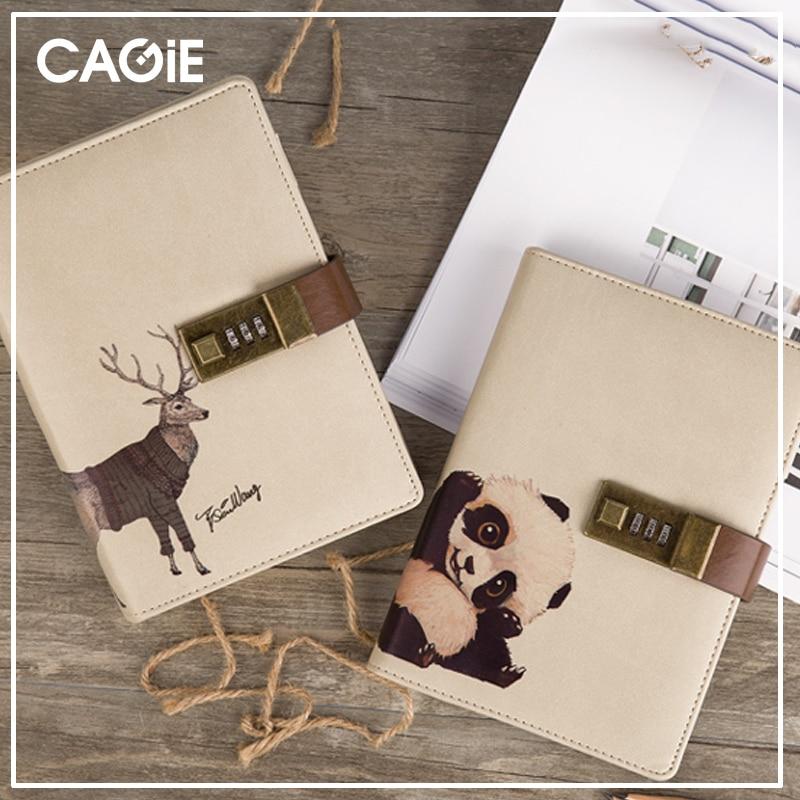 CAGIE Diary with Lock Travelers Notebook Refill Leather Journal Cute Padlock Diary Planner Kawaii Cat Printing dagboek met slot