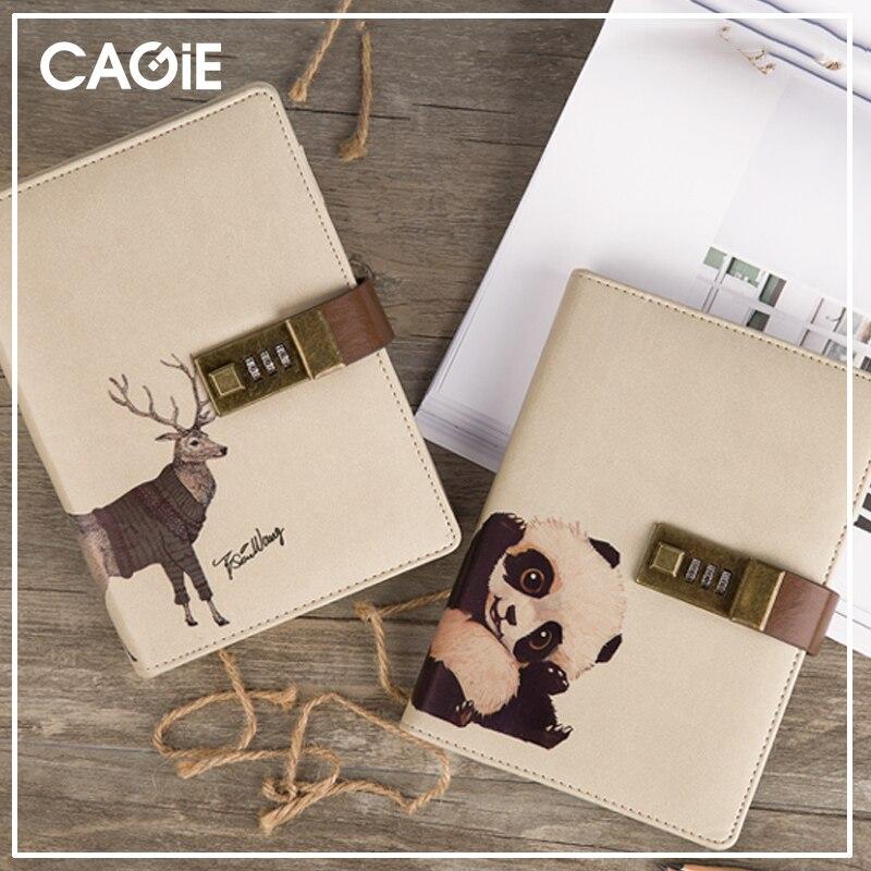 Diario CAGIE con bloqueo viajeros cuaderno recarga cuero diario lindo candado diario planificador Kawaii planificador Filofax Agenda